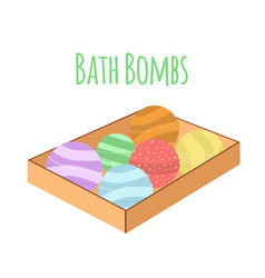 Box with bath bombs cartoon flat set nature vector
