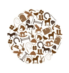 Brown simple horse theme icons set in circle eps10 vector