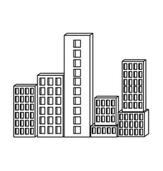 building set city monochrome silhouette vector image vector image