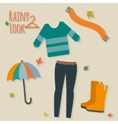 Casual rainy autumn clothing vector image