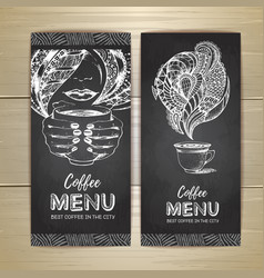 Chalk drawing coffee menu design vector