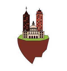 city on flotating land icon image vector image