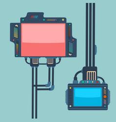 Futuristic monitors cartoon style concept vector