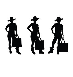girl with bag and hat silhouette vector image