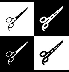 Hair cutting scissors sign black and vector