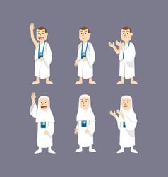 hajj pilgrimage character vector image