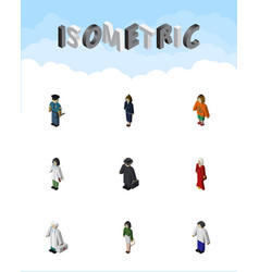 Isometric human set of doctor male lady and vector