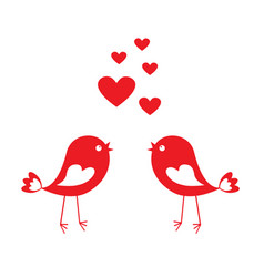 Love cute birds with red hearts vector