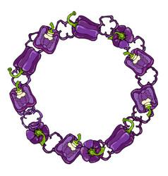 Purple bell peper wreath half of violet sweet vector