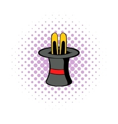 Rabbit appearing from a top magic hat icon vector
