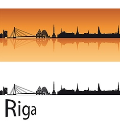 Riga skyline in orange background vector image