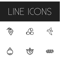 Set of 6 editable food icons includes symbols vector