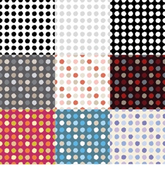 Set of 9 polka dot seamless pattern vector