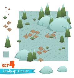 set of winter forest landscape vector image