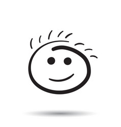 Simple smile icon hand drawn face doodle on white vector