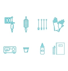 Tattoo equipment icon set vector