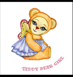 Teddy bear girl watercolor vector