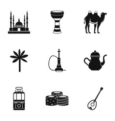 Turkey things icons set simple style vector