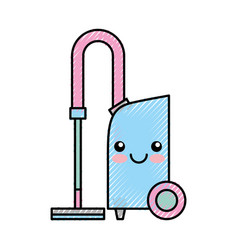 Vacuum cleaner kawaii character vector