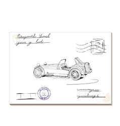 Vintage letter with old car2 vector image vector image