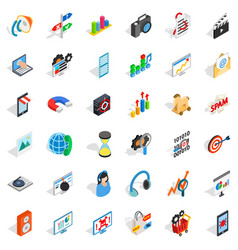 Web growth icons set isometric style vector
