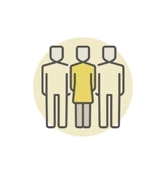 Woman with two men colored icon vector image vector image