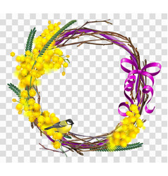 Yellow mimosa flower branch with wreath with red vector
