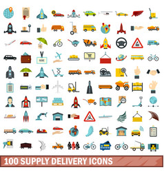 100 supply delivery icons set flat style vector image