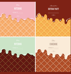 Cream melted on wafer background set ice cream vector