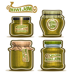 kiwi jam in glass jars vector image