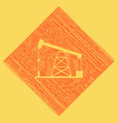 Oil drilling rig sign  red scribble icon vector