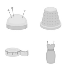 Pincushion with pins thimble centimeter dress vector