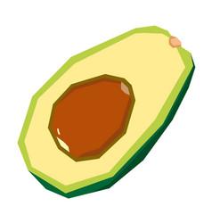 Isolated cut avocado vector