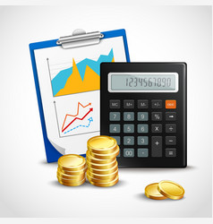Calculator and golden coins vector