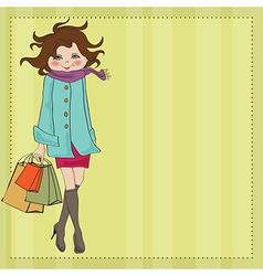Beautiful young woman at shopping vector