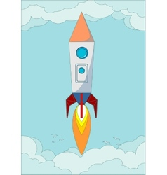 The rocket flight in the blue clear sky vector