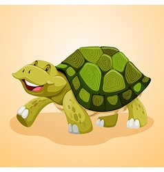 Happy turtle walking alone vector