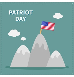 Mountain and flag patriot day flat vector