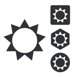 Sun icon set monochrome vector