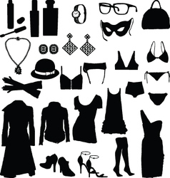 Female clothing silhouettes vector