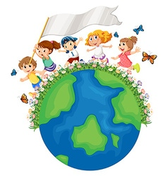 Children running around the earth with flag vector