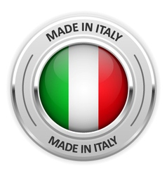 Silver medal made in italy with flag vector