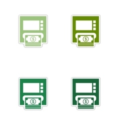 Set of paper stickers on white background atm vector