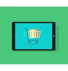 Tablet computer and full shopping cart moving vector