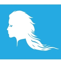 Woman face silhouette with long wavy hair vector image