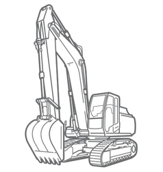 Outline excavator isolated vector