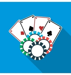 Poker cards and casino chips icon flat style vector