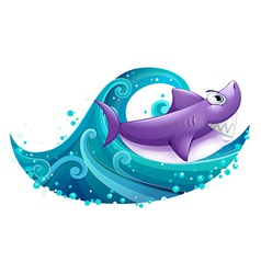 A big wave with a shark vector image vector image