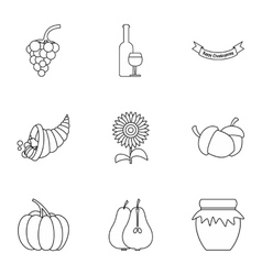 Autumn festival icons set outline style vector