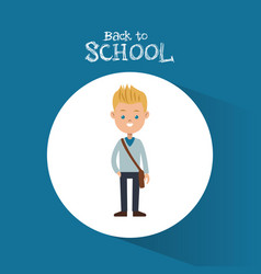 Back to school student boy blond bag blue vector